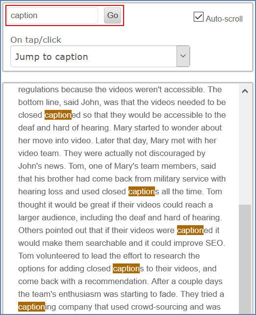 Image of the CaptionSync Smart Player page, interactive transcript