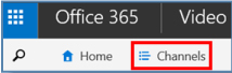 Image of Office 365's Channels menu