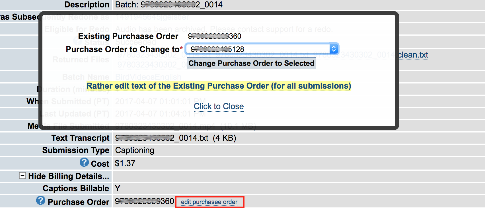 Submission Details page editing purchase order referenced