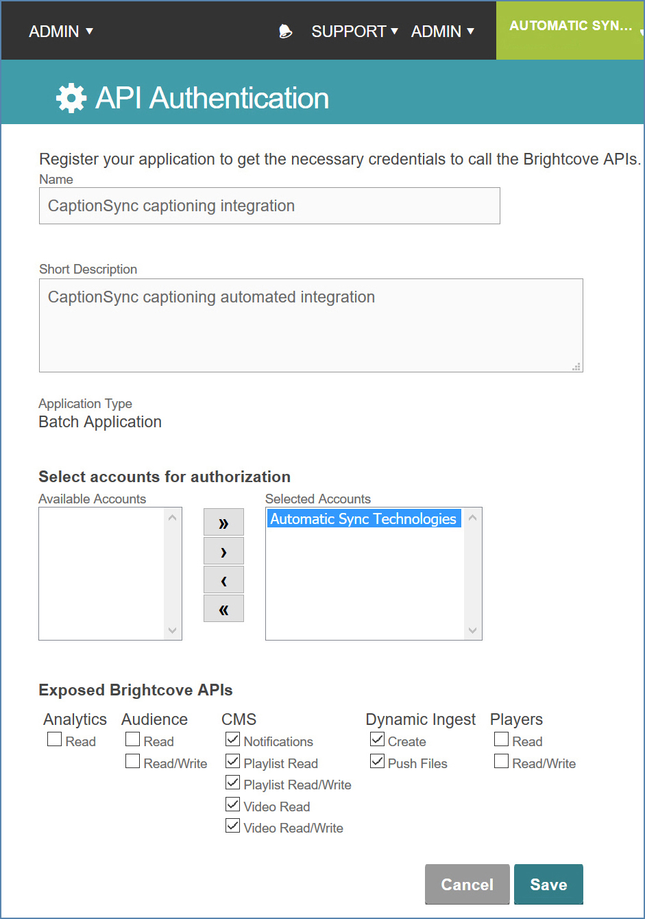 Image of the API Authentication page, on the Brightcove account