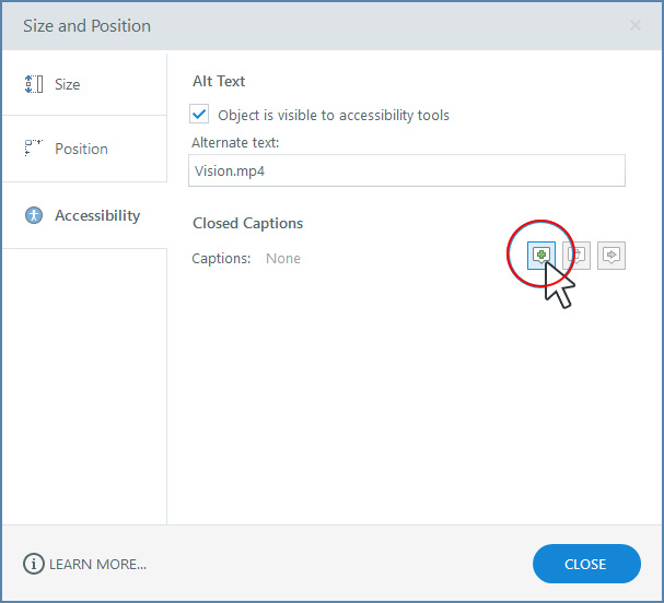 Adding captions via Accessibility, in Articulate
