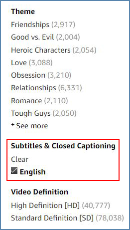 Amazon Video website, Closed Captions filter