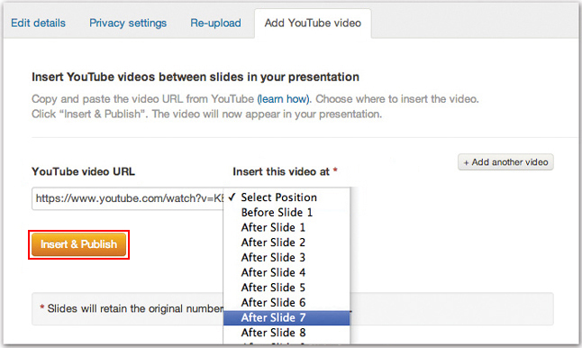 Image of SlideShare's Add YouTube video tab