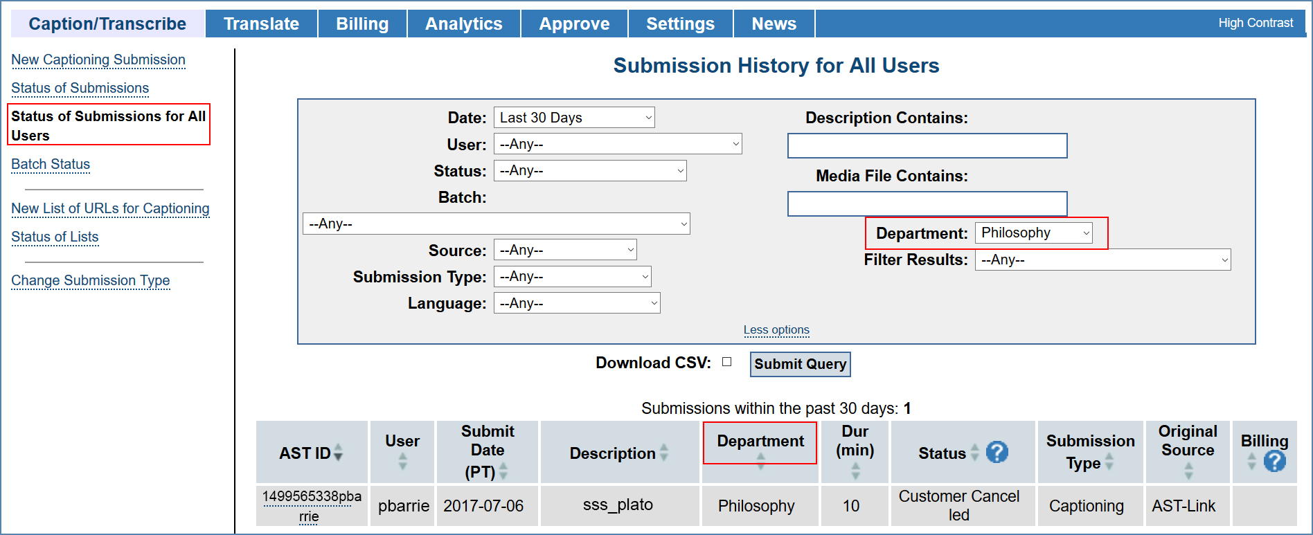 Image of the Status of Submissions for All Users page filtered by Department