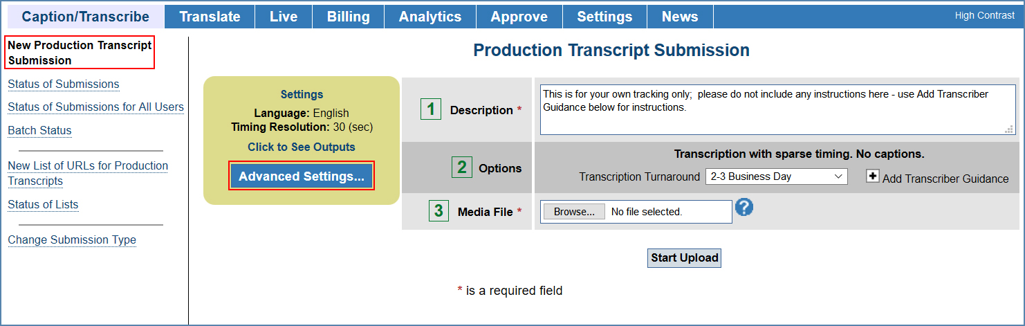 Image of the Production Transcript Submission page