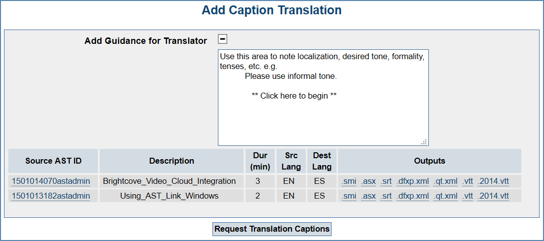Image of the Add Caption Translation page