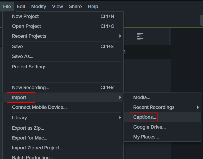 Image of the File menu in Camtasia
