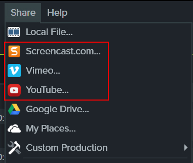 Image of the Share menu in Camtasia