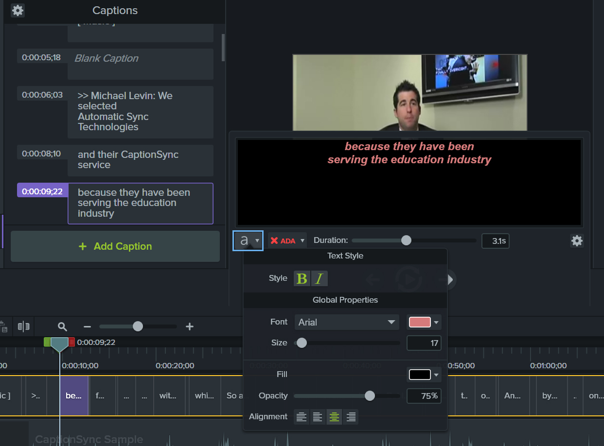 Image of the caption editor in Camtasia