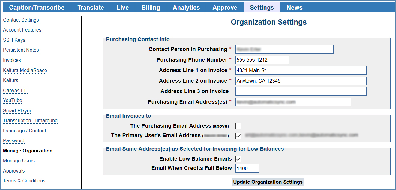 Image of the Manage Organization page, under the Settings tab