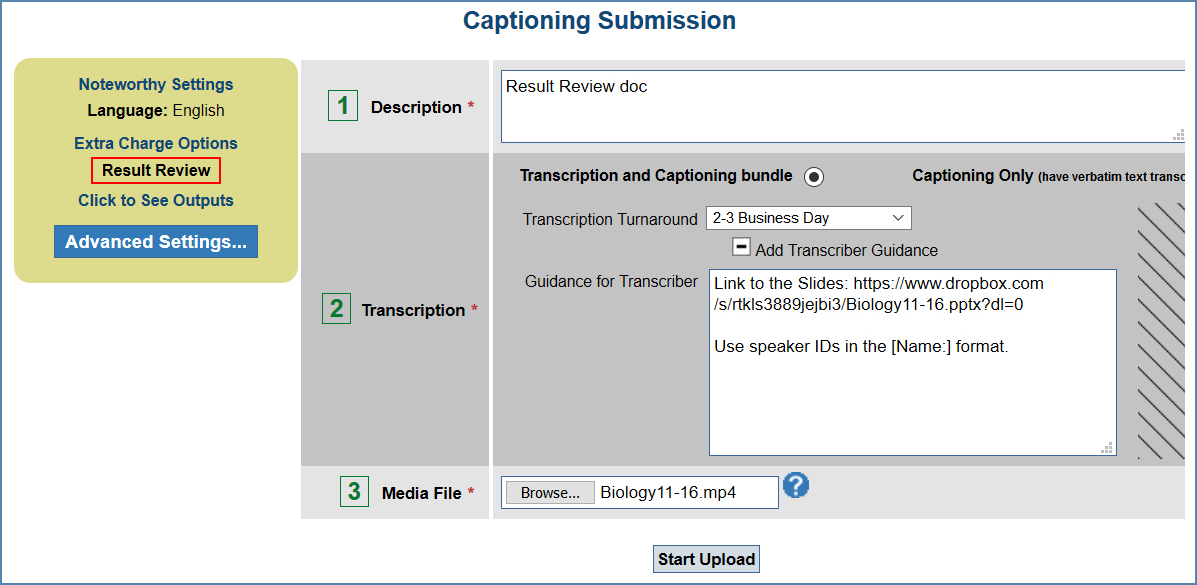 Image of the Captioning Submission page