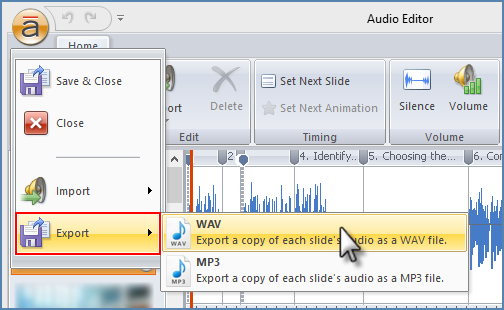 Image of Exporting a single slide in Articulate