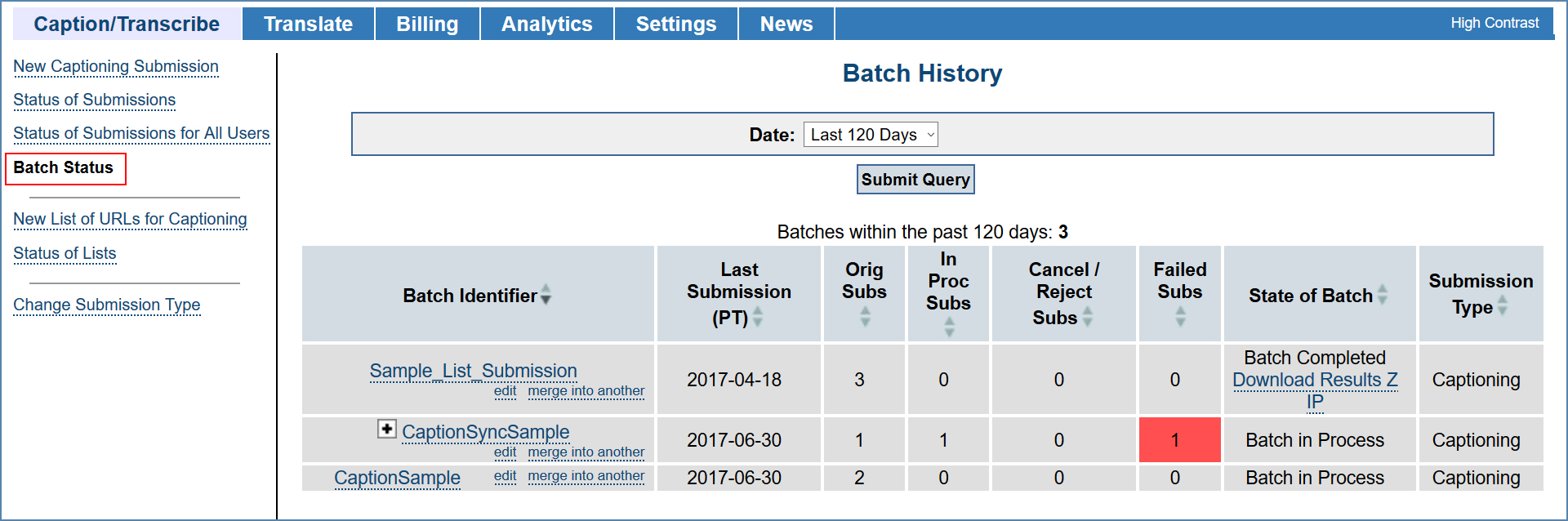 Image of Batch History page