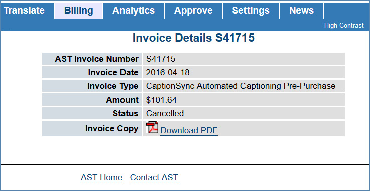 Image of Invoice Details page