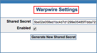 Image of Warpwire Settings page