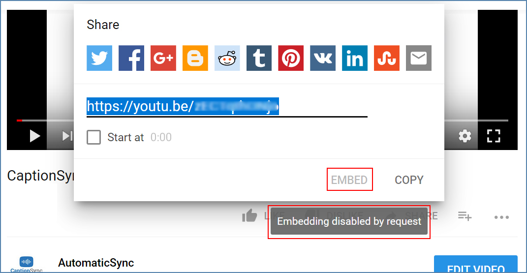 Image of the Embed section for a YouTube video