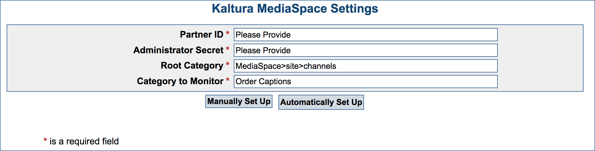Image of the Kaltura MediaSpace Settings page