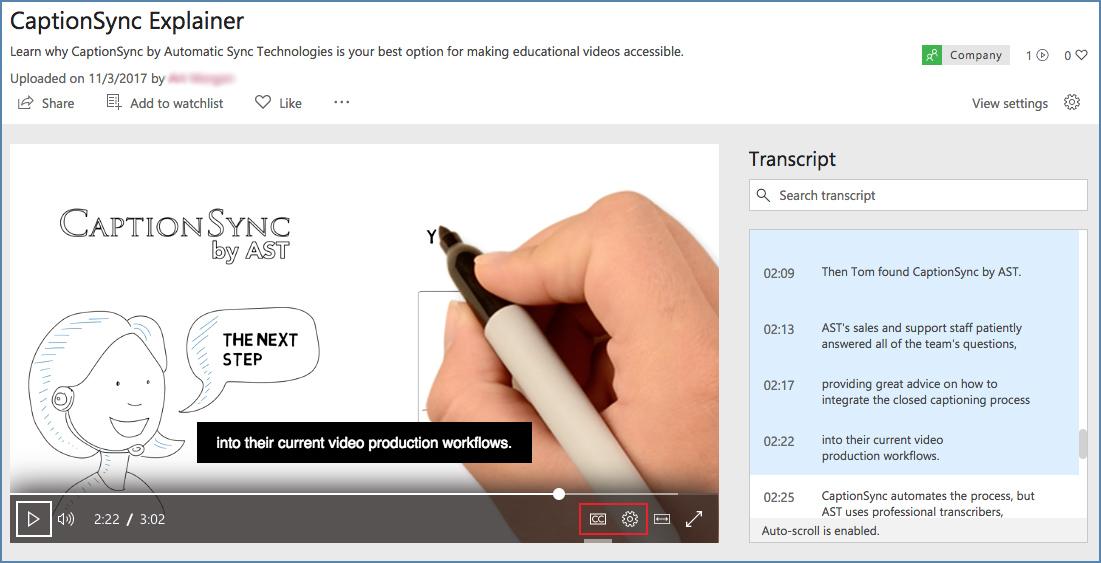 Adding Closed Captions to Microsoft Stream Videos