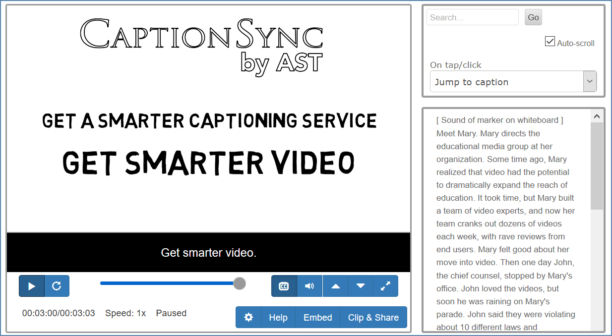 Image of the CaptionSync Smart Player page