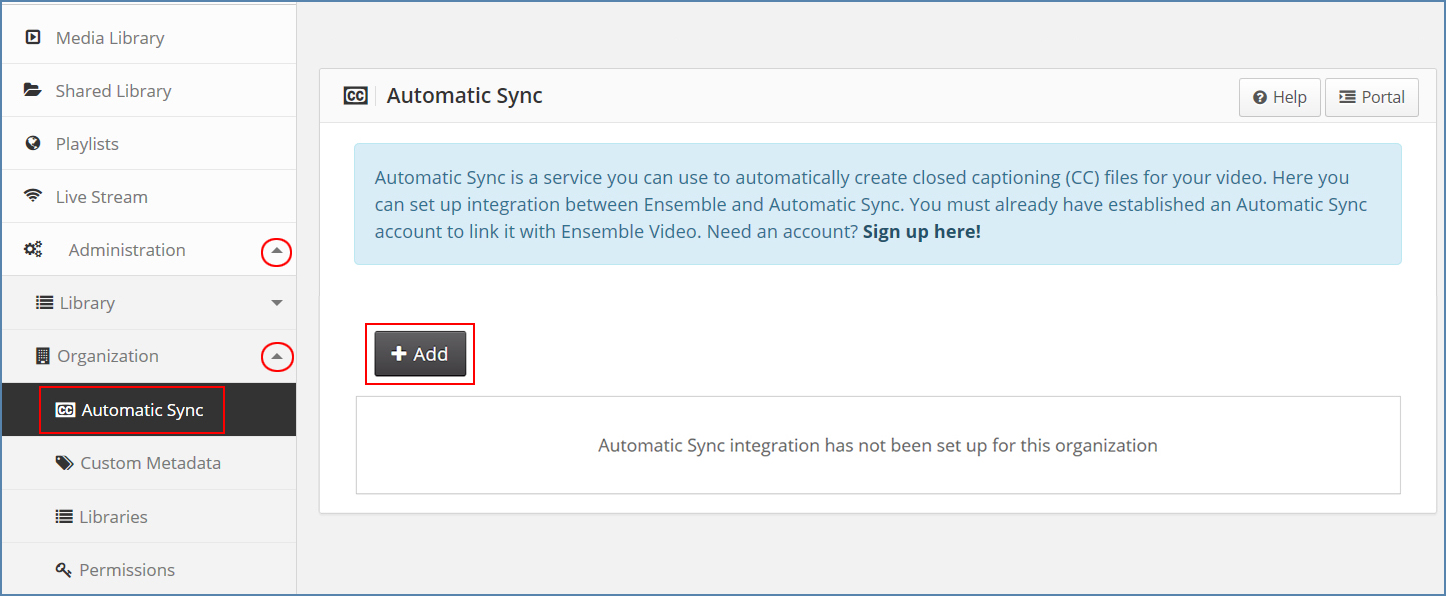Image of Ensemble and Automatic Sync Integration page