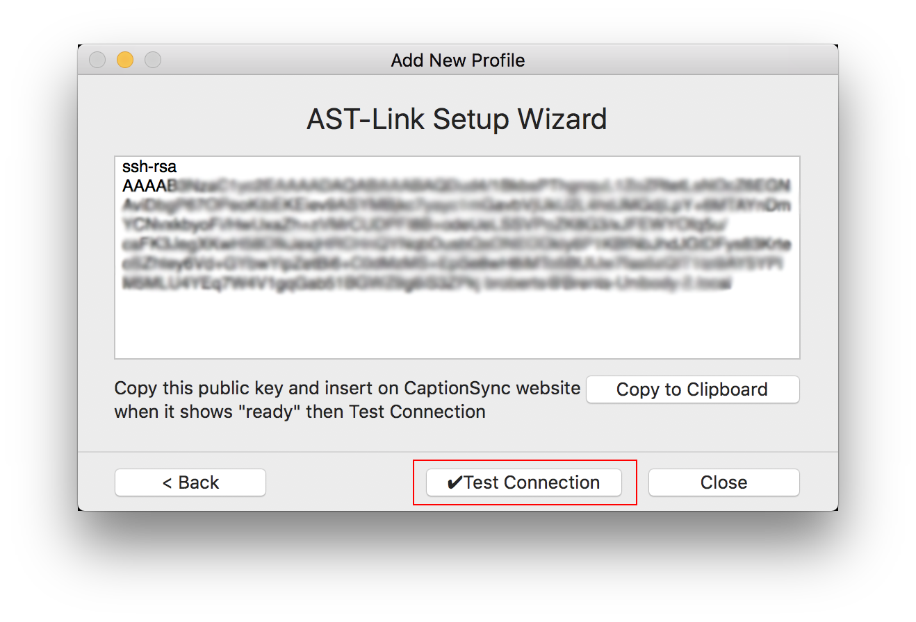 Image of the AST-Link G2 setup wizard