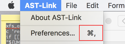 Image of the AST-Link Menu