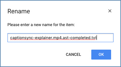 Image of the Rename files window, on Google Drive platform