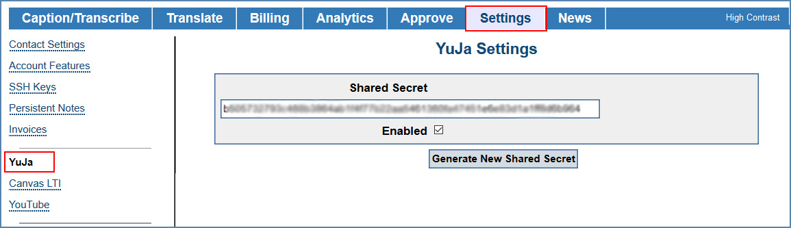 Image of YuJa Settings page, in the CaptionSync account