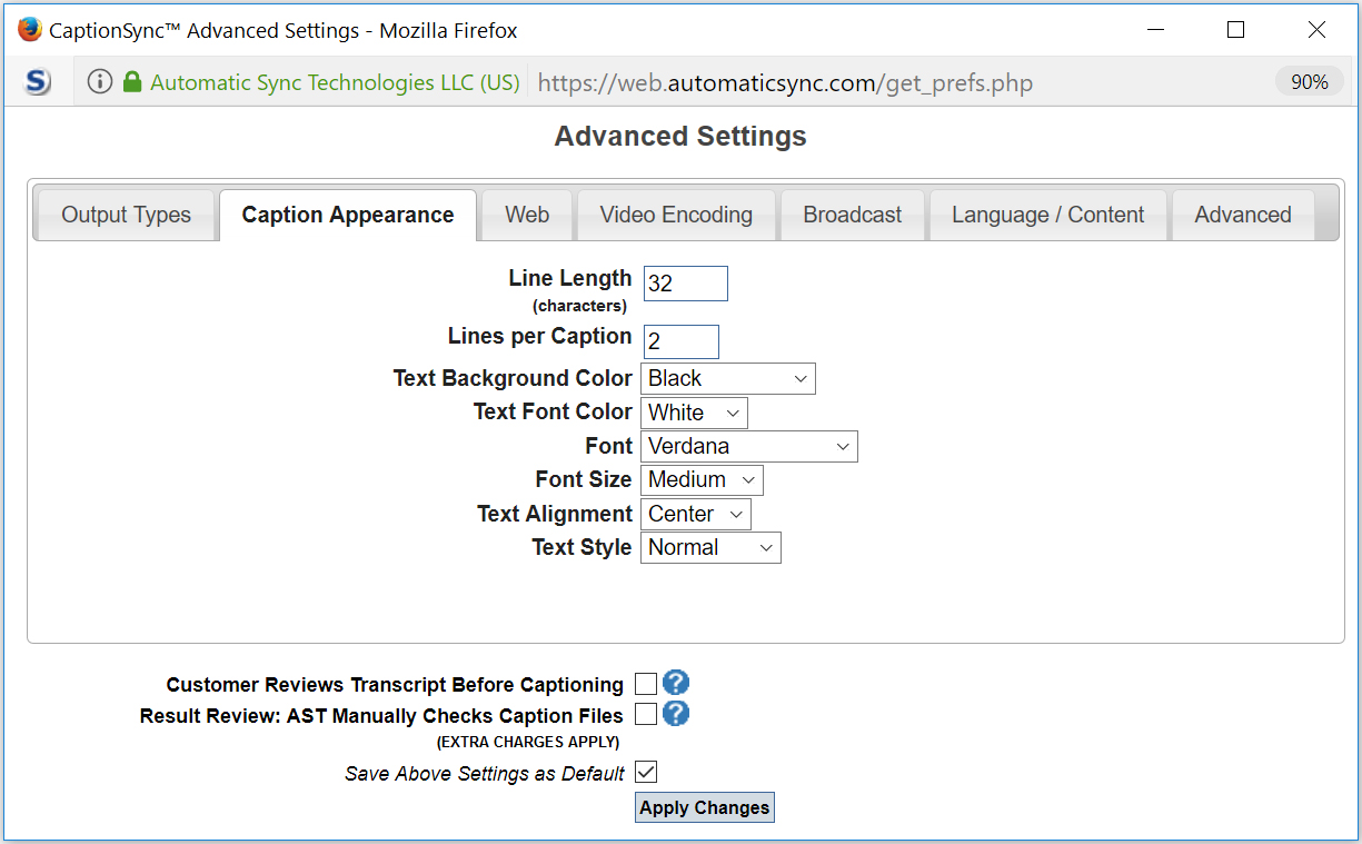 Image of the Advanced Settings