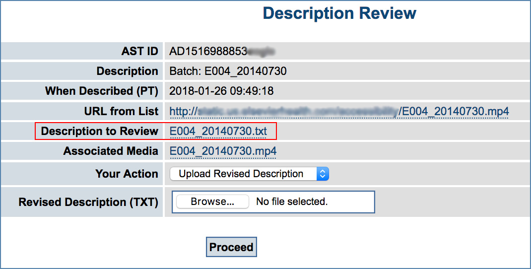 Image of the Description Review page, highlighting the description file link
