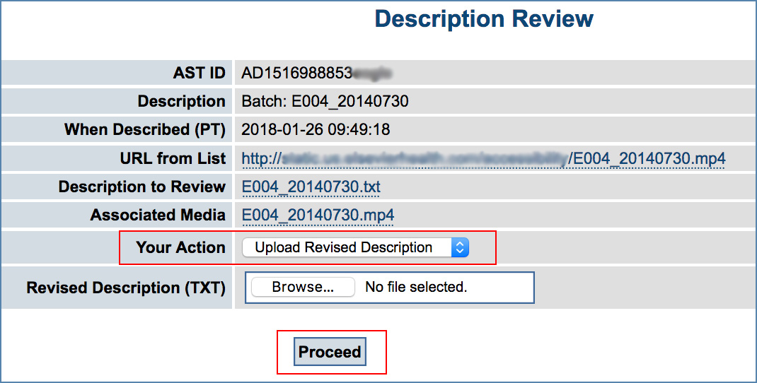 Image of the Description Review page, highlighting the Your Action drop-down menu