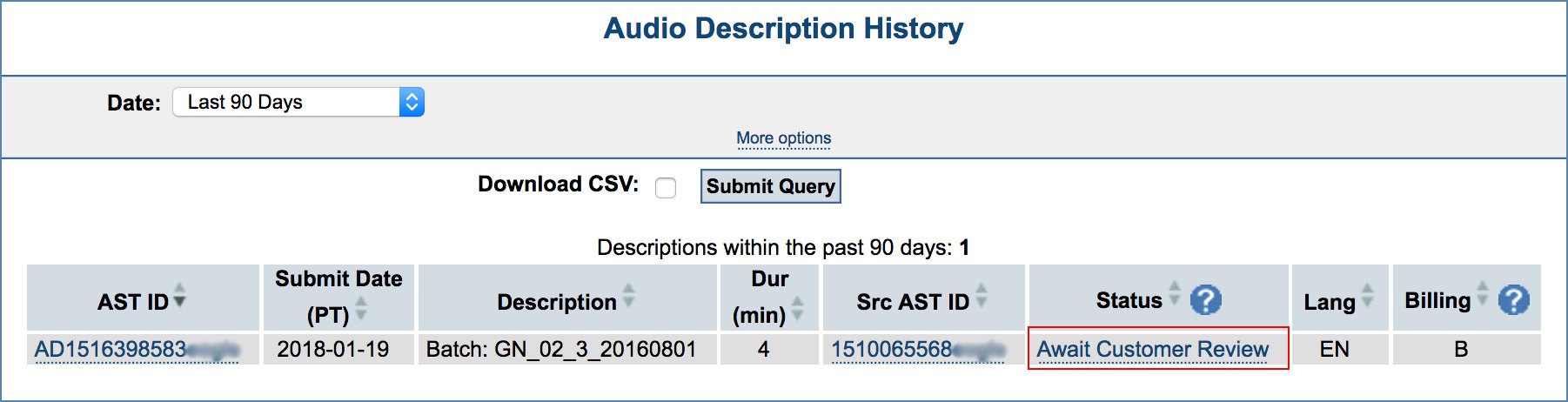Image of the Audio Description History page, highlighting the Await Review link