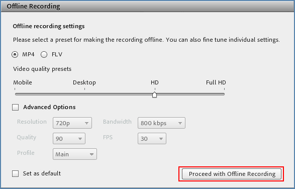 Image of Offline Recording window
