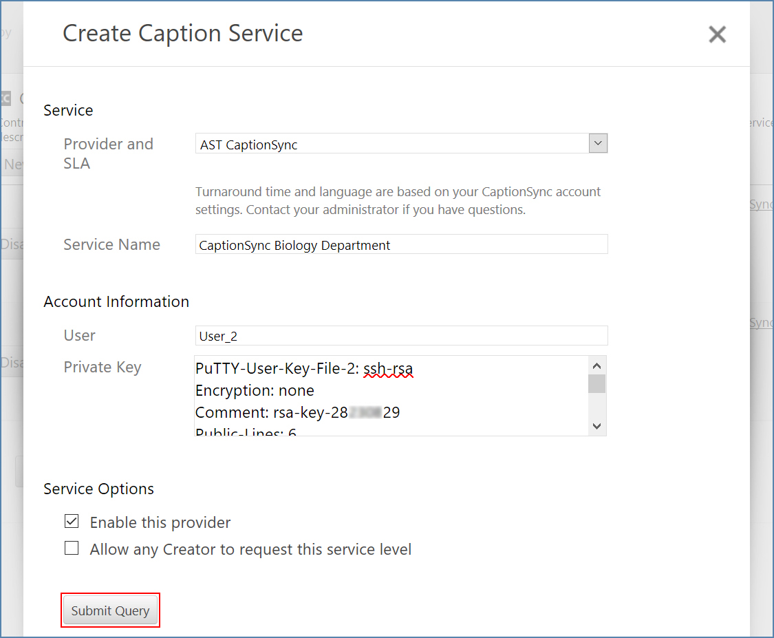 Panopto's Create Caption Service dialog box