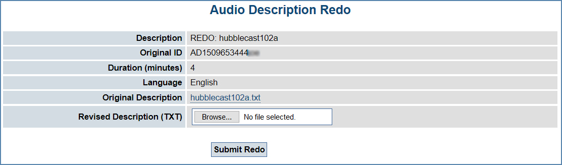 Audio Description Redo page