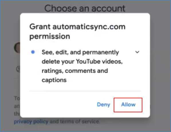 Image of the Grant automaticsync.com permission pop-up window, on the Google account