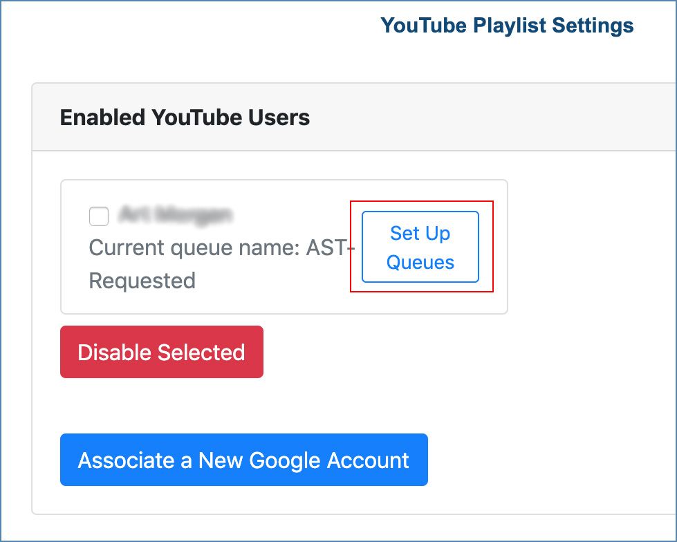 Image of the YouTube Playlist Settings page, on the CaptionSync account