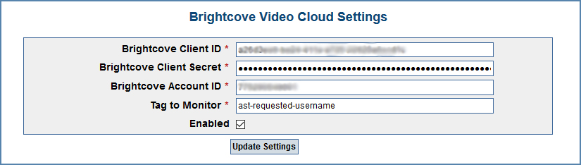 Image of the Brightcove Video Cloud Settings page, on the CaptionSync account