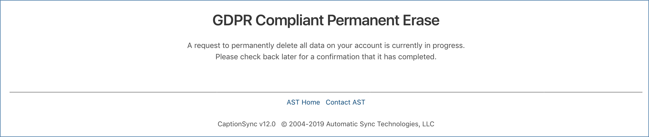 Image of the GDPR Compliant Permanent Erase in progress page