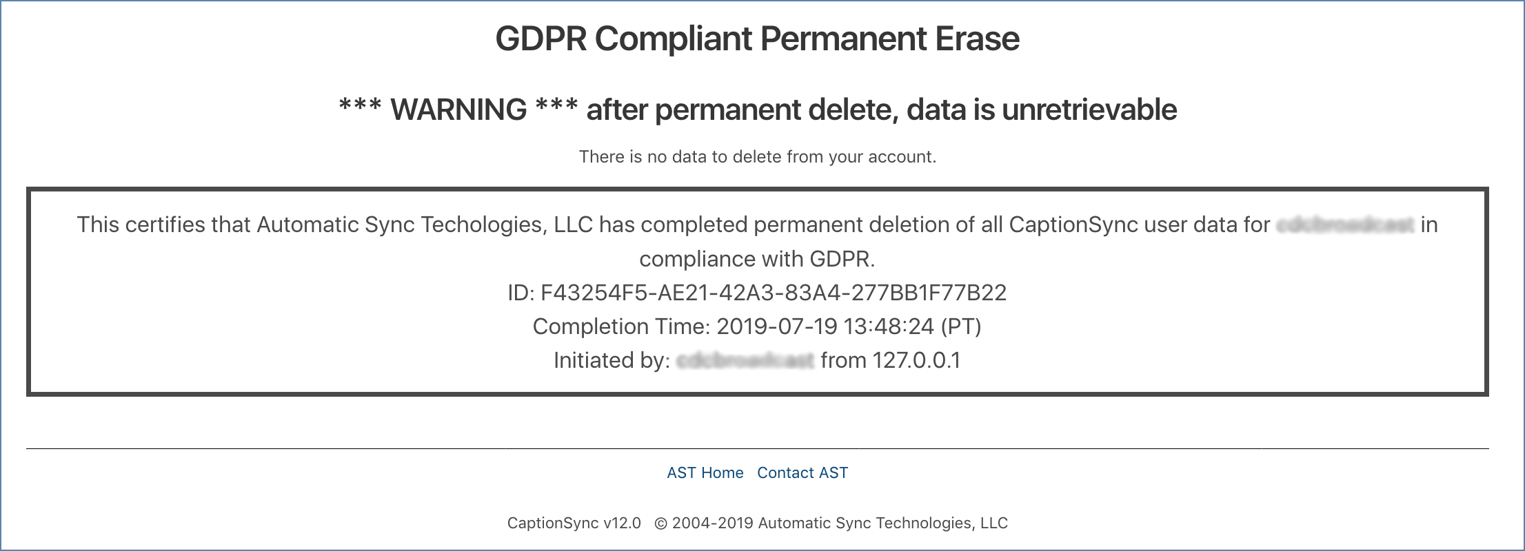 Image of the GDPR permament deletion completed page