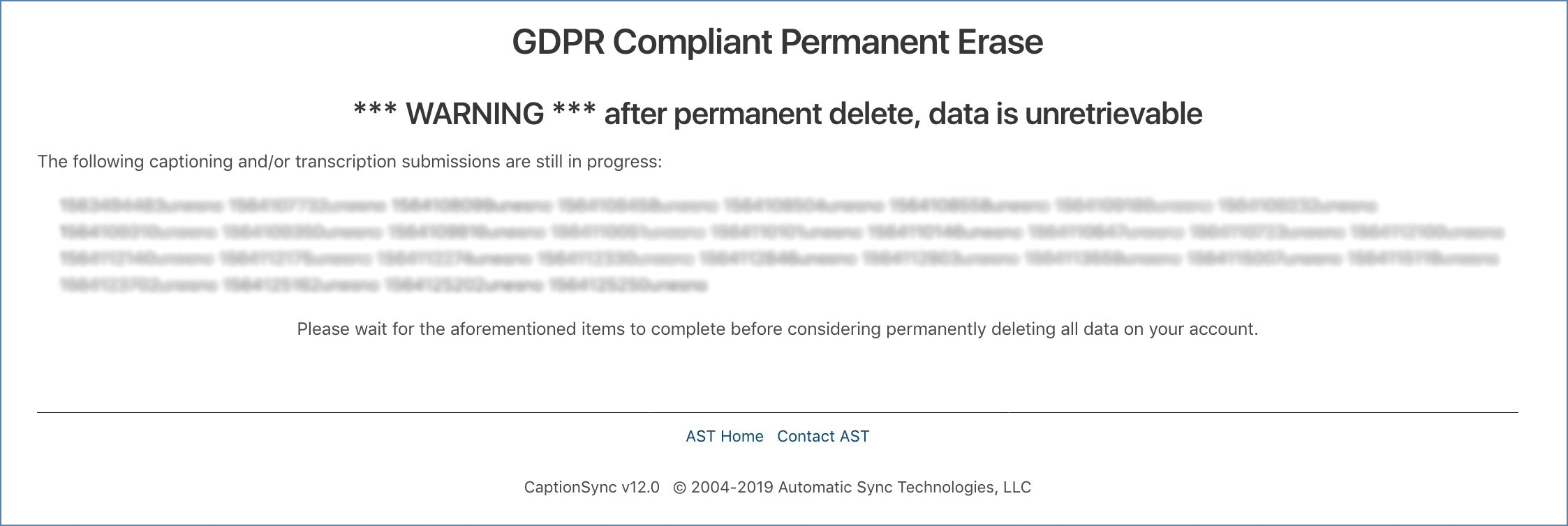 Image of the GDPR Compliant Permanent Erase page