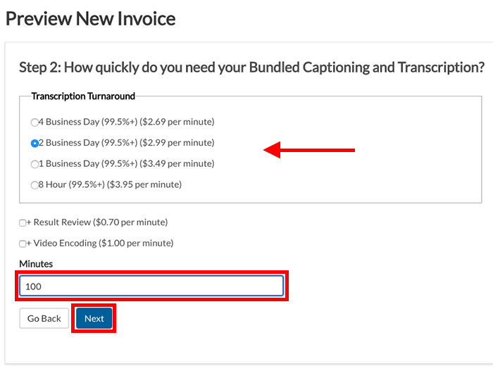 Invoice Step 2 on choosing priority transcription and minutes, for adding credits under the billing tab