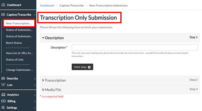 Image of the Transcription Only Submission Page