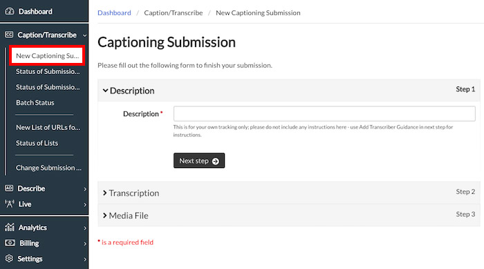 Image of Captioning Submission Page