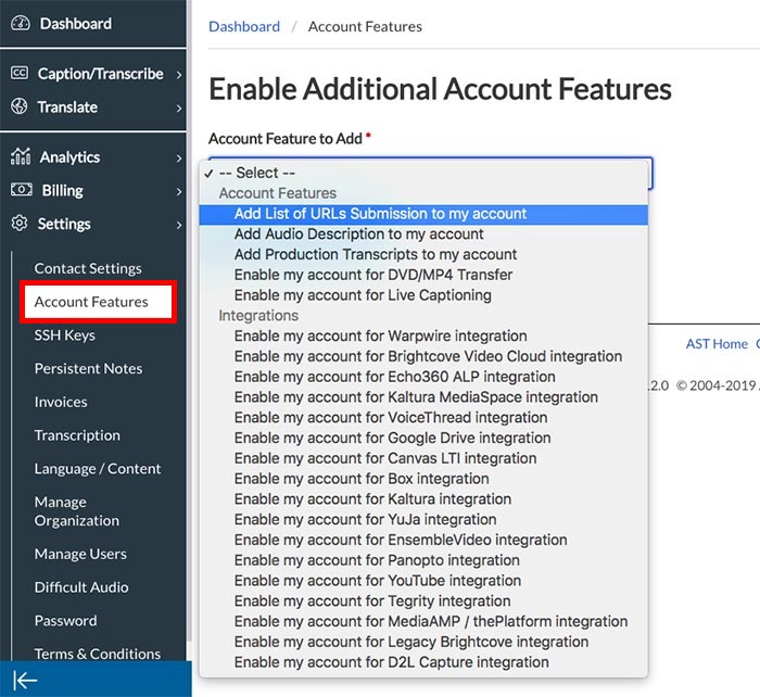 Image of Enable Additional Account Features Page with the option to add the List of URLs feature