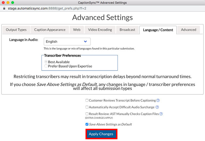 Image of the Advanced Settings dialog box showing Language/Content Option