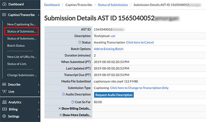 Image of the Submission Details page