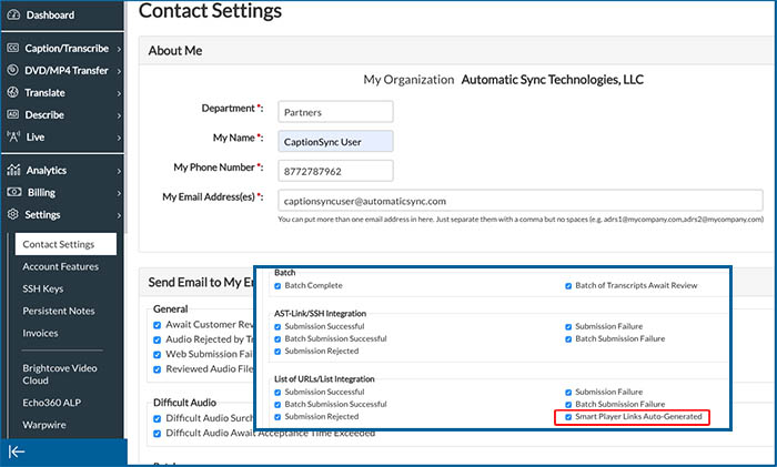Image of Contact Settings page showing the Smart Player Links Auto-Generated option highlighted