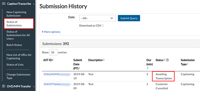 Image of the Status of Submissions page, with Awaiting Transcription Highlighted