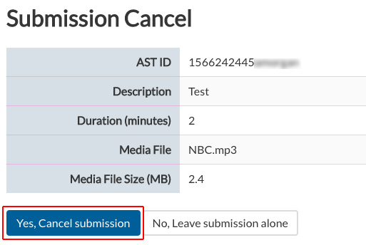 Image of the Confirm screen for the Cancel Submission Page